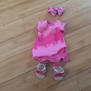 Retired American Girl pink Dress with AG shoes